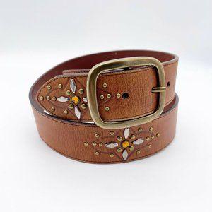 Rolfs Genuine Leather Brown Belt Studded Boho